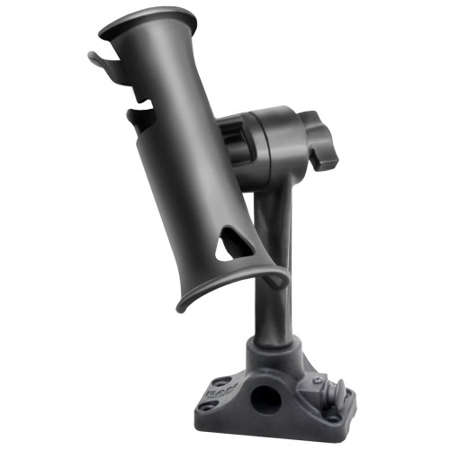 "RAM Mount RAM Tube Jr. Fishing Rod Holder, Standard 6"" Length Post Spline & Combo Bulkhead\/Flat Surface Base w\/Plunger [RAP-390-BMPU]"