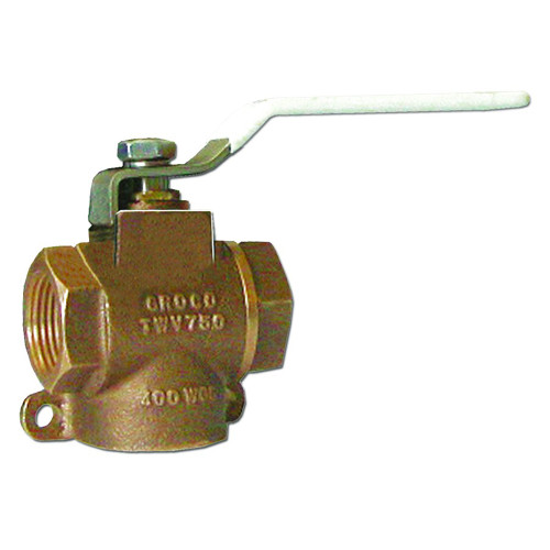 "GROCO 1\/2"" NPT Bronze 3-Way Valve [TWV-500]"