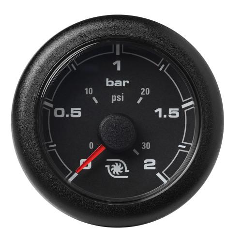"""VDO 2-1\/16"""" (52MM) OceanLink Boost Pressure 2 Bar \/ 30 PSI  Black Dial  Bezel [A2C1066140001]"""