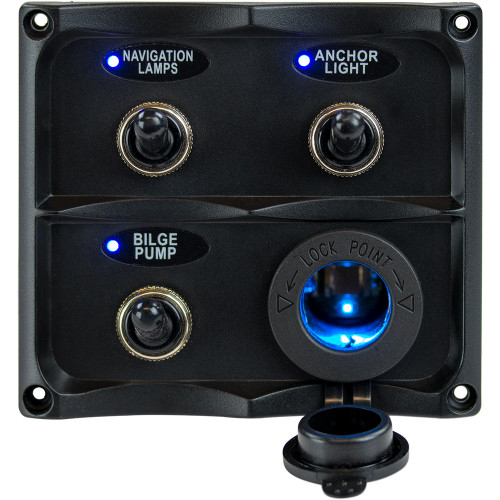 Sea-Dog Water Resistant Toggle Switch Panel w\/LED Power Socket - 3 Toggle [424623-1]