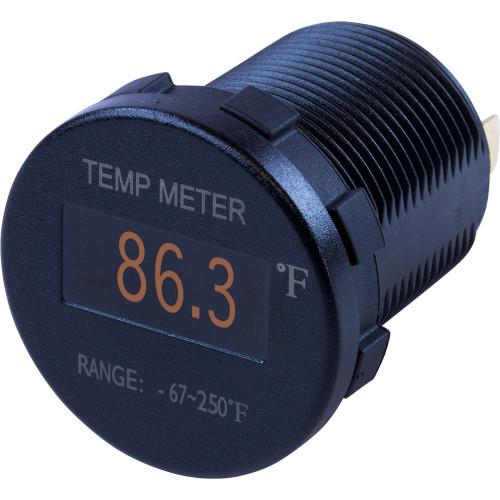 Sea-Dog Round OLED Temperature Meter Fahrenheit w\/6 Lead [421610-1]