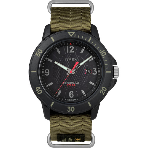Timex Gallatin Nylon Slip-Thru Watch - Solar Green\/Black Dial [TW4B14500JV]