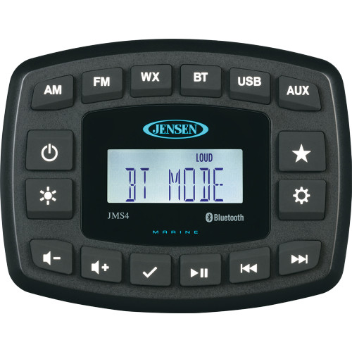 "JENSEN 4"" JMS4RTL Waterproof Bluetooth AM\/FM\/WB\/USB Stereo - Black [JMS4RTL]"