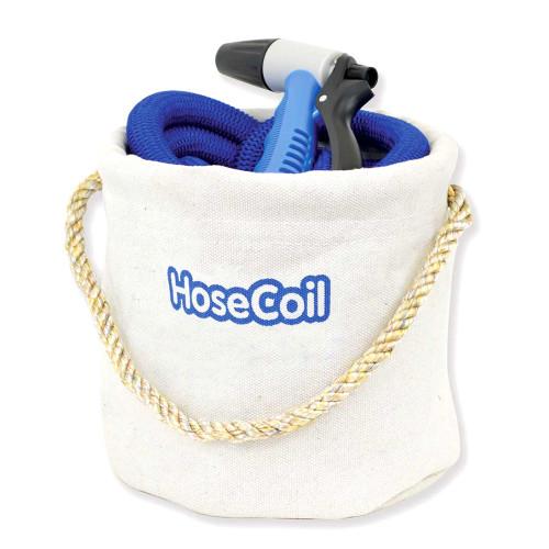 HoseCoil Canvas Bucket w\/75 Expandable Hose, Rubber Tip Nozzle  Quick Release [HCE75CB]