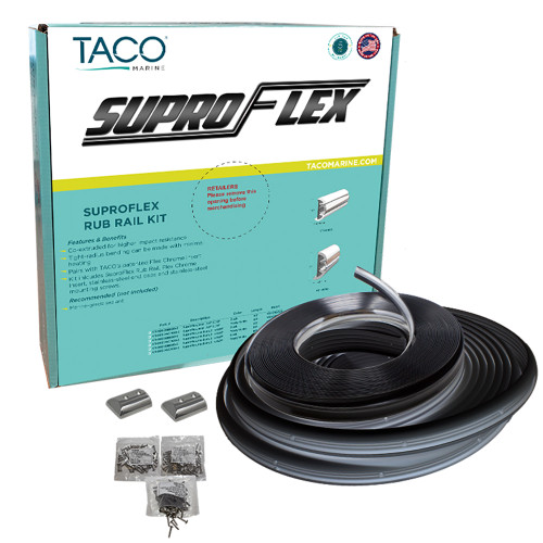 "TACO SuproFlex Rub Rail Kit - Black w\/Flex Chrome Insert - 2""H x 1.2""W x 60L [V11-9990BBK60-2]"