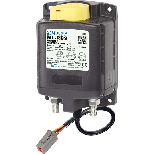 Blue Sea 7700200 ML Solenoid 12V 500A w\/Manual Control  Deutsch Connector [7700100]