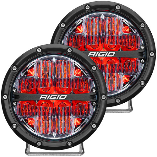 "RIGID Industries 360-Series 6"" LED Off-Road Fog Light Drive Beam w\/Red Backlight - Black Housing [36205]"