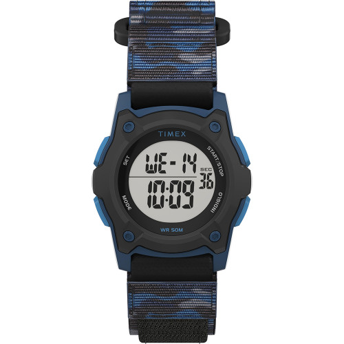 Timex Kids Digital 35mm Watch - Blue Camo w\/Fastwrap Strap [TW7C77400XY]