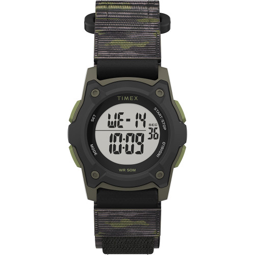 Timex Kids Digital 35mm Watch - Green Camo w\/Fastwrap Strap [TW7C77500XY]
