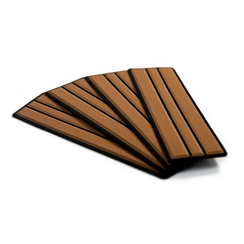 "SeaDek Brushed 6mm 4-Piece Step Kit - 3.75"" x 12.75"" - Mocha\/Black Faux Teak [23902-80093]"
