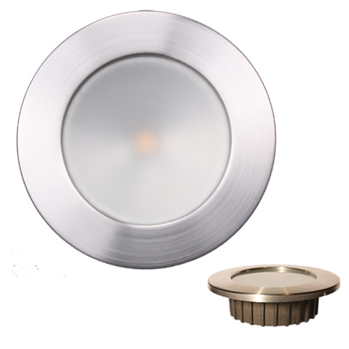 Lunasea ZERO EMI Recessed 3.5 LED Light - Warm White, Blue w\/Brushed Stainless Steel Bezel - 12VDC [LLB-46WB-0A-BN]