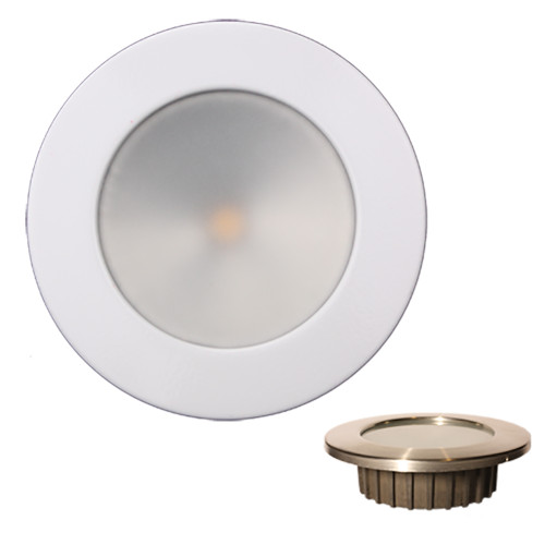 Lunasea ZERO EMI Recessed 3.5 LED Light - Warm White, Blue w\/White Stainless Steel Bezel - 12VDC [LLB-46WB-0A-WH]