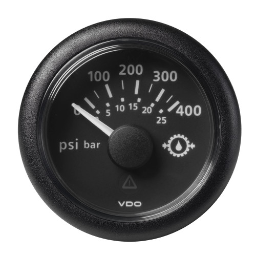 "VDO Marine 2-1\/16"" (52mm) ViewLine Transmission Oil Pressure 400 PSI\/25 Bar - 8-32V - Black Dial  Round Bezel [A2C59514145]"