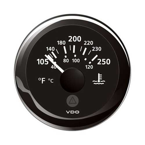 "VDO Marine 2-1\/16"" (52mm) ViewLine Temperature Gauge 100-250F - 8-32V - Black Dial  Bezel [A2C59514176]"