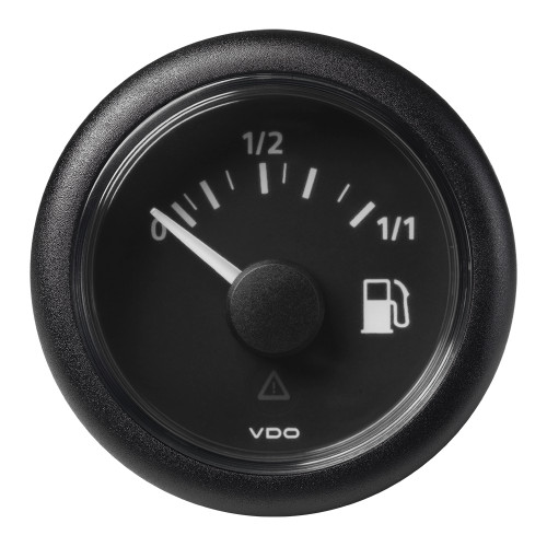 "VDO Marine 2-1\/16"" (52mm) ViewLine Fuel Level Gauge 0-1\/1 - 8-32V - 3-180 OHM - Black Dial  Round Bezel [A2C59514082]"