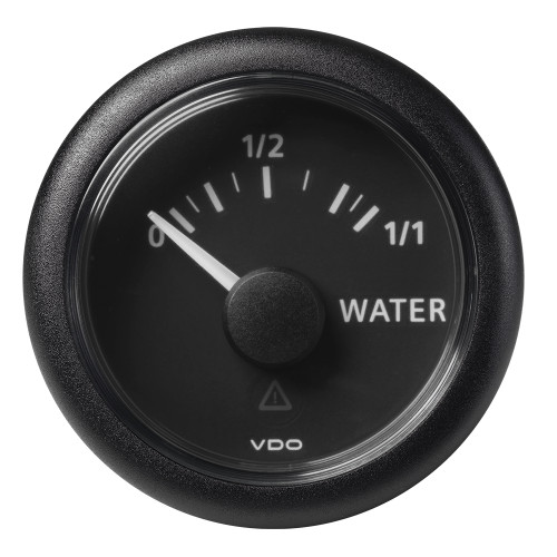 "VDO Marine 2-1\/16"" (52mm) ViewLine Fresh Water Resistive 0-1\/1 - 8-32V - 3-180 OHM - Black Dial  Round Bezel [A2C59514097]"