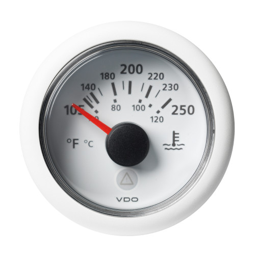 "VDO Marine 2-1\/16"" (52mm) Viewline Temperature Gauge 120C\/250F - 8-32V - White Dial  Bezel [A2C59514241]"