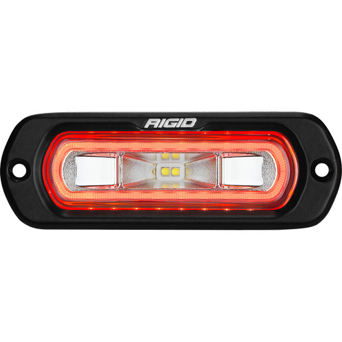 RIGID Industries SR-L Series Marine Spreader Light - Black Flush Mount - White Light w\/Red Halo [52202]