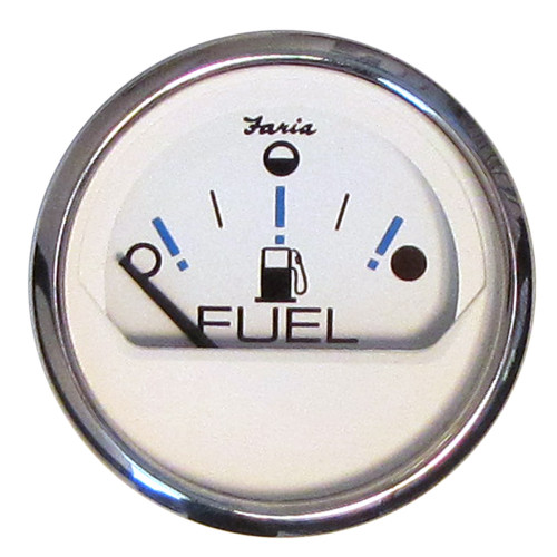 "Faria Chesapeake White SS 2"" Fuel Level Gauge - Metric (E-1\/2-F) [13818]"
