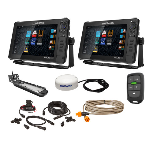 """Lowrance HDS Live Bundle - 2 -12"""" Displays, AI 3-In-1 T\/M Transducer, Point 1 GPS, LR-1 Remote  Cabling [000-15783-001]"""