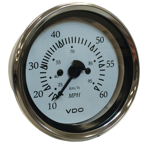 "VDO Cockpit Marine 85MM (3-3\/8"") Pitot Speedometer - 0 to 60 MPH - White Dial\/Chrome Bezel [260-15270]"