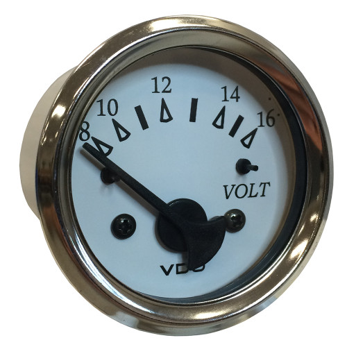 "VDO Cockpit Marine 52MM (2-1\/16"") Voltmeter - White Dial\/Chrome Bezel [332-15282]"