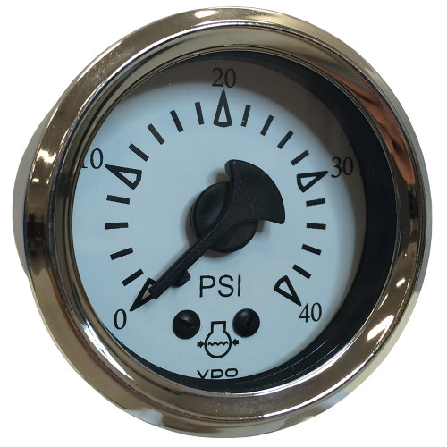 "VDO Cockpit Marine 52MM (2-1\/16"") Mechanical Water Pressure Gauge - White Dial\/Chrome Bezel [150-15283]"