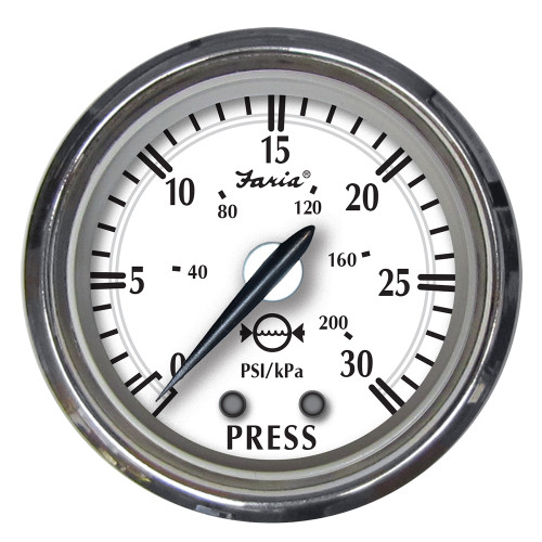 "Faria Newport SS 2"" Water Pressure Gauge Kit - 0 to 30 PSI [25008]"
