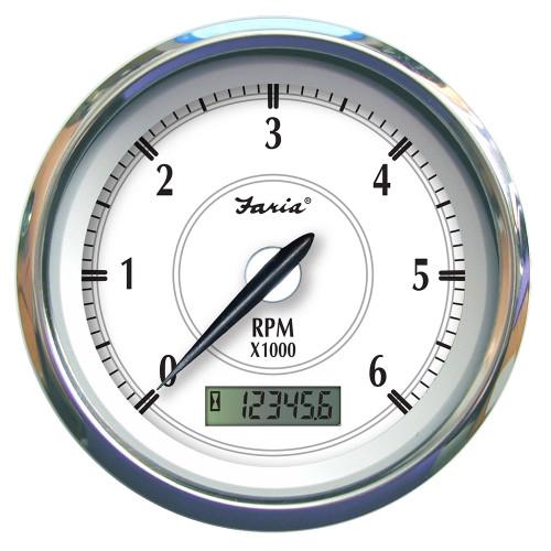 """Faria Newport SS 4"""" Tachometer w\/Hourmeter f\/Gas Inboard - 6000 RPM [45004]"""