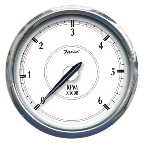 """Faria Newport SS 5"""" Tachometer f\/Gas Inboard - 6000 RPM [45013]"""