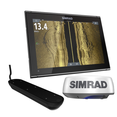 Simrad GO12 XSE Chartplotter Radar Bundle HALO20+  Active Imaging 3-in-1 Transom Mount Transducer  C-MAP Discover Chart [000-15619-002]