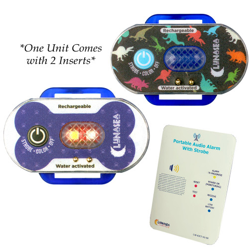 Lunasea Child\/Pet Safety Water Activated Strobe Light w\/RF Transmitter - Blue Case, Blue Attention Light [LLB-63BB-F0-K2]
