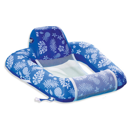 Aqua Leisure Supreme Zero Gravity Chair Hibiscus Pineapple Royal Blue w\/Docking Attachment [APL17290S1]