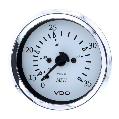 "VDO Cockpit Marine 85MM (3-3\/8"") Pitot Speedometer - 0 to 35 MPH - White Dial\/Chrome Bezel [260-15271]"