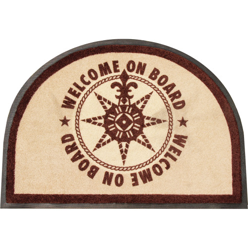 Marine Business Non-Slip WELCOME ON BOARD Half-Moon-Shaped Mat - Brown [41218]