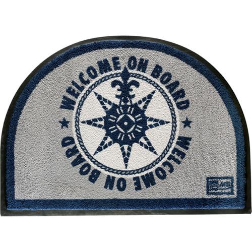 Marine Business Non-Slip WELCOME ON BOARD Half-Moon-Shaped Mat - Blue\/Grey [41220]