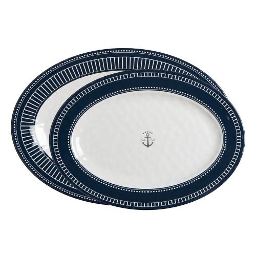 Marine Business Melamine Oval Serving Platters Set - SAILOR SOUL - Set of 2 [14009]