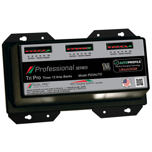 Dual Pro PS3 Auto 15A - 3-Bank Lithium\/AGM Battery Charger [PS3AUTO]