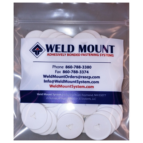 """Weld Mount 3"""" White Round Poly Insulation Washer - 50-Pack [102450]"""
