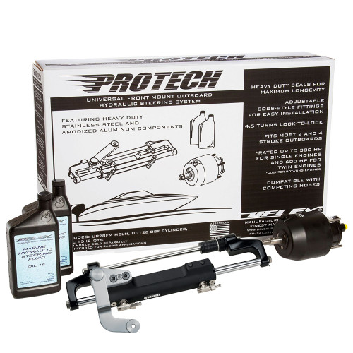 Uflex PROTECH 3.1 Front Mount OB Hydraulic System - Includes UP28 FM Helm, Oil  UC128-TS\/3 Cylinder - No Hoses [PROTECH 3.1]