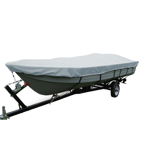 Carver Poly-Flex II Wide Series Styled-to-Fit Boat Cover f\/14.5 V-Hull Fishing Boats Without Motor - Grey [70114F-10]