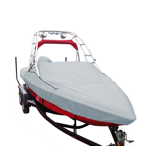 Carver Sun-DURA Specialty Boat Cover f\/18.5 Sterndrive V-Hull Runabouts w\/Tower - Grey [97123S-11]
