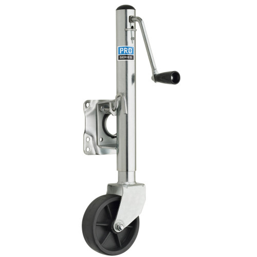 "Pro Series 1000 lbs. Zinc Plated Swivel Jack w\/6"" Poly Wheel [EJ10000101]"