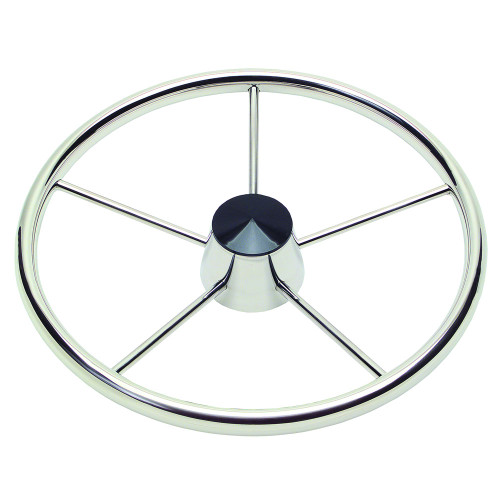"Schmitt 170 13.5"" Stainless 5-Spoke Destroyer Wheel w\/ Black Cap and Standard Rim - Fits 3\/4"" Tapered Shaft Helm [1721321]"