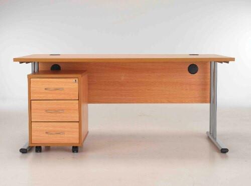 Sorrento Rectangular Desk Workstation 1600mm Wide & Mobile Pedestal