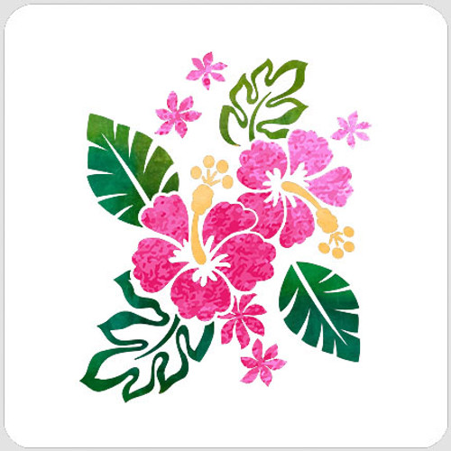 Layered Tropical Blooms Stencil