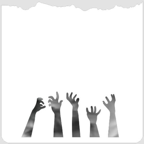 Zombie Hands Dirt Edger Stencil