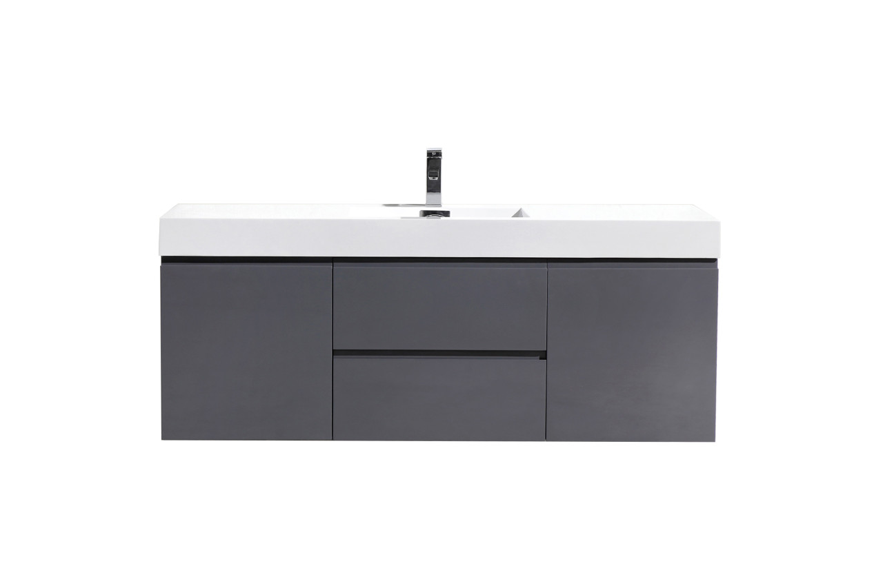 Fortune 60 Single Sink Wall Mounted Modern Bathroom Vanity With Reinforced Acrylic Sink Tona Bathroom Vanity