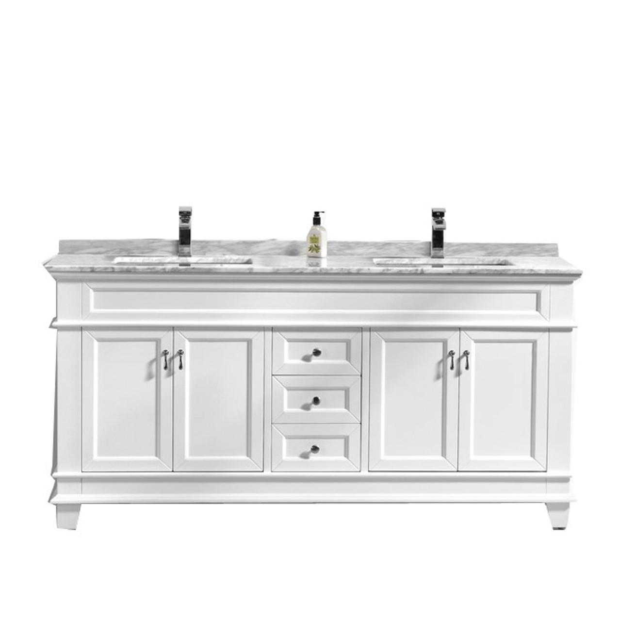 Castillo 60 Double Sink Bathroom Vanity With Carrara Marble Top Tona Bathroom Vanity