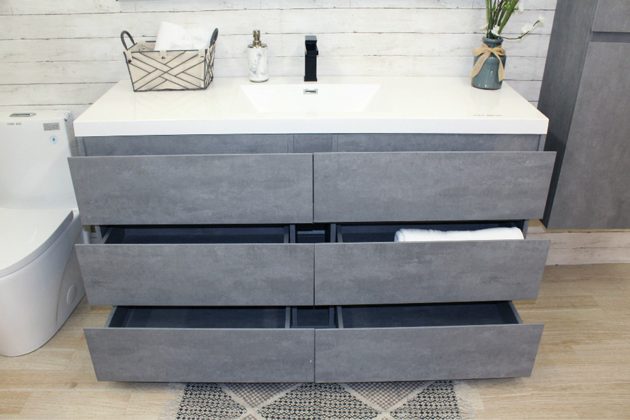 Angeles 60 Single Sink Modern Bathroom Vanity W 7 Drawers And Acrylic Sink Tona Bathroom Vanity